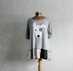 Bull Terrier Dog Applique Grey Tunic Top by BrokenGhostClothing
