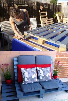 Ingenioso sofá chillout con palets / Via www.frecklesandfluff.com
