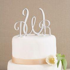 Silver Wedding Cake Top Initials | Cake Top Initials