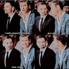Sebastian Stan Chris Hemsworth Avengers Infinity War