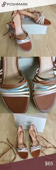 """NIB Rosalind Strappy Ankle Wrap High Heel Sandal Brand new with box and never worn. Ankle ties are too much of a commitment for me. Size 9 but runs 1/2 size large (I wear 9.5 and these fit perfectly). Tan, nude, and silver metallic leather with 2"""" stacked block heels. Madewell Shoes Sandals"""