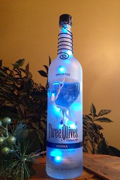 Three Olives Vodka Bottle Light Lamp Martini Holiday Gift Blue Bar Themed Decor Man Cave