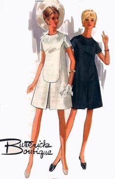 1960s Boutique A Line Dress Butterick 4909 Vintage 60s Sewing Pattern Size 16 Bust 38