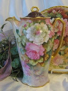 """Absolutely Stunning Antique Limoges France Masterpiece Signed by Respected Talented Artist Signed \""""M. Blanche Lenzi, Norristown, PA\"""" Rare One-of-a-Kind Original Fine Art Hand Painted Roses Chocolate Coco Pot or French Chocoliatiere Circa 1890's"""