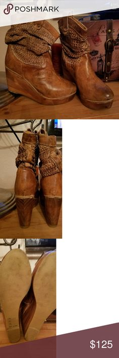 IT'S GOTTA GO!!! BED STU OSTEND LEATHER BOOTS Super cute Bed Stu mid-calf boot. The description says mid-calf but they're more high ankle. The top is woven leather kind of white and distressed with the tan, absolutely beautiful craftsmanship. The wooden heel is 3 & 3/4 inches to 1 inch at the toe. These platform boots can be worn all day. Hubby bot them for my b-day. So sad to sell them.  I wore them to a wedding. Only selling due to injury and can no longer wear heels. Only worn once! Ben…
