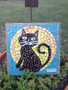 Mosaic stepping stone by Brenda Rose- Edna,  Texas - Kitty Cat!!