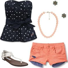 This is sooo cute it is a navy blue with polkadots tube top from holister peach shorts white sandals and green blue flower earrings and a peach necklace. This is great for the end of school!