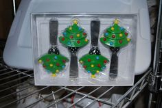 NEW MSC MAIN STREET COLLECTIONS RESIN CHRISTMAS TREE CHEESE KNIFE SPREADERS x4