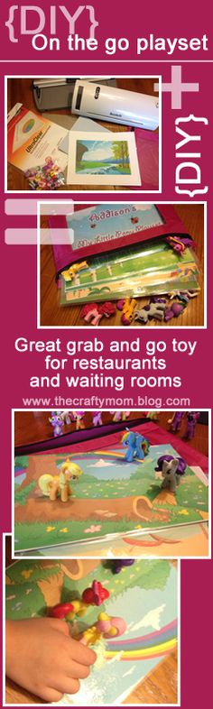 {DIY} - On the go playset -  Great to keep in the car and grab whenever you have to sit in a waiting room, a restaurant, or play with it in the car. See the instructions and printable template at www.thecraftymom.blog.com  Just make several different versions and grab a few on your way out of the car to keep the kids occupied. There are also links to other small figures you can purchase to make different versions - the sample here is My Little Pony.