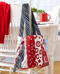 The only trouble you'll have with this fun-to-sew, reversible, tie-closure  bag is deciding which way to wear it. Printed stripes provide the look of  pieced strips in a fraction of the time.