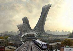 Crazy Urban Alloy Transportation Hub Looks Like an Alien Organism Landed on Queens   Inhabitat New York City