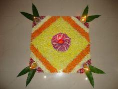 Simple Square shape Flower Rangoli Design for Diwali Simple Rangoli Designs Images, Rangoli Designs Flower, Rangoli Designs Diwali, Diwali Rangoli, Beautiful Rangoli Designs, Flower Designs, Indian Rangoli, Easy Rangoli, Rangoli Colours