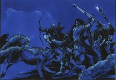 Dances with Wolves, from Rolozo Tolkien site, An elve attacking wolves