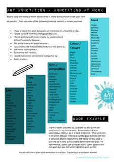 A useful art resource to support students annotating their own work. It is complete with sentence starters and a good example.