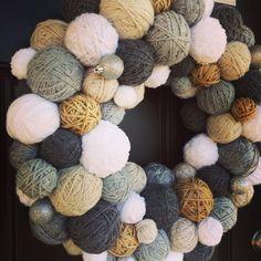 Handmade Winter Yarn Ball Wreath with a hint by EmbellishedLiving Silver Ornaments, Yarn Ball, Jute Twine, Door Wreaths, Burlap Wreaths, Yarn Projects, Holiday Wreaths, Christmas Fun, Etsy
