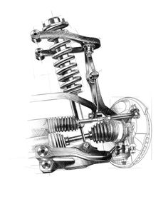 Shocks: When you are driving down the road and hit a bump, the shocks or struts on your vehicle take the majority of that force so that you don't feel it much. Without these it would sure make for a rough ride. Mechanical Art, Mechanical Design, Technical Illustration, Technical Drawing, Electric Car Engine, Reverse Trike, Car Sketch, Car Drawings, Black And White Illustration