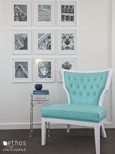 we have a turquoise sofa i think would look lovely with white and chocolate in new master bedroom- maybe sepia portraits??
