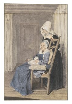 Louis Carrogis called Carmontelle PARIS 1717 - 1806 PORTRAIT OF MARIE LOUISE PETIT, AT THE AGE OF 105, WITH A NURSE STANDING BEHIND Black and red chalk and watercolour, heightened with white, the upper section cut and re-attached; inscribed and dated on the 18th century mount: Marie Louise Petit, Agée de 105. Ans. / Déssinée à Villers-Coterest Le 6. juillet 1765.