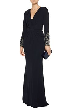 Shop on-sale Badgley Mischka Embellished wrap-effect jersey gown. Browse other discount designer Dresses & more on The Most Fashionable Fashion Outlet, THE OUTNET.COM