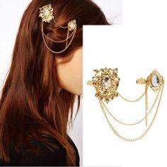 Gold Tone Hair Brooch Pin Crystal Chain Hair Clip Claw Clamp Head Jewelry   eBay