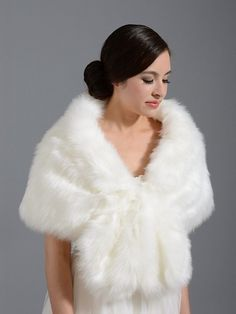 Faux fur wrap bridal shrug stole shawl cape A001- Ivory and White $60