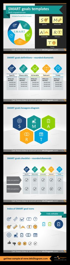SMART goals setting graphics for business presentations. SMART goals are used in project management, in HR for increasing employee performance, business planning or personal development. Using SMART is a powerful motivation tool. SMART goals definitions with rounded diamonds, SMART goals hexagons diagram, SMART goals checklist with rounded diamonds, Index of 13 fully editable icons for all five SMART characteristics in two graphical styles.