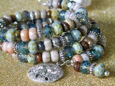 Boho Memory Wire/Gemstone Bracelet/Sand Dollar/Turquoise/Green/Tribal/Beachy Bracelet