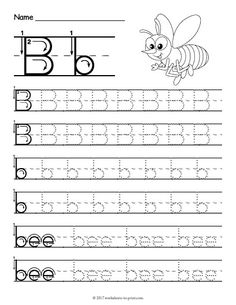 5 letter B b preschool printables. Learn about the letter B with this fun free printable worksheets. Perfect for preschoolers and school aged children. Letter Worksheets For Preschool, Writing Practice Worksheets, Handwriting Worksheets, Kindergarten Worksheets, Preschool Printables, Handwriting Practice, Preschool Alphabet, Alphabet Crafts, Preschool Prep