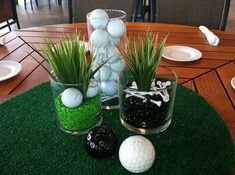 Golf party ideas to help turn your picnic, party, or maybe your even though celebration in a golf-lovers delight. If you and your friends love golf, and then any excuse is a great excuse for any good Golf Centerpieces, Masculine Centerpieces, Golf Decorations, Centerpiece Ideas, Centrepieces, Christmas Decorations, Thema Golf, Golf Crafts, Golf Wedding