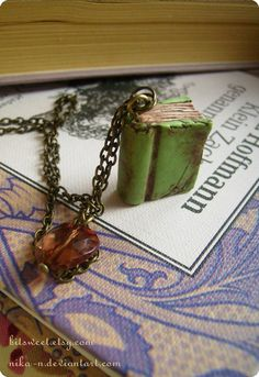 Old Library book necklace custom colors by BitSweet on Etsy