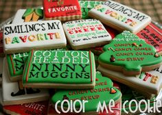 If you LOVE the movie ELF, you will LOVE these cookies! This listing is for one dozen (12) Elf themed sugar cookies. Baked in my licensed kitchen,