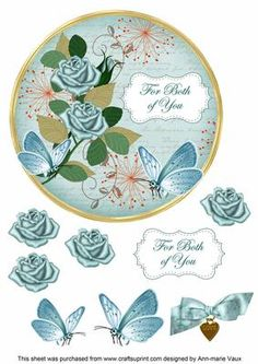 DTeal Rose Both of You 7in Circle Decoupage Topper on Craftsuprint - Add To Basket!