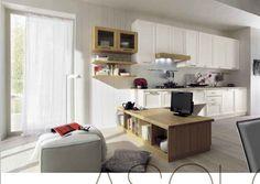 cucina in legno massiccio personalizzabile con mobile basso costruito su misura verniciatura ecologica