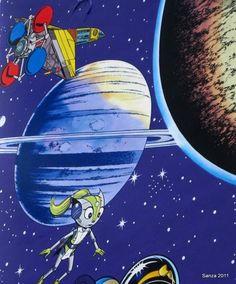 Space travel in Brussels. Closeup - Yoko Tsuno de Roger Leloup - Rue Terre-Neuve à 1000 Bruxelles