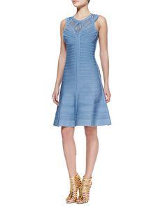 Viviane Woven Bandage Dress by Herve Leger at Neiman Marcus.