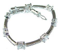$71.25 Delicate! White Topaz Sterling Silver Bracelet at www.SilverRushStyle.com #bracelet #handmade #jewelry #silver #topaz