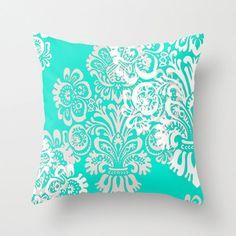 Beautiful aqua pillow - guest room decor
