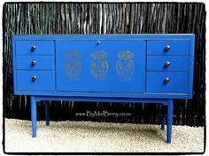 Blue art deco with gold deco motif and green interior side board. By MolBerry. Refurbished by Stephanie Mollett. 89cm H, 144cm W, 42cm D. ZAR 7,500.00. Sandton South Africa Only.