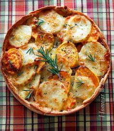 Recipe For Potato Gratin with Rosemary Crust - This gratin is awesome with prime rib or beef tenderloin. Rosemary is a bossy herb that can take over a dish, so use it sparingly.