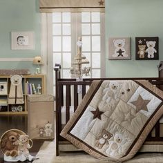 love this neutral room decor, for baby boy or girl.
