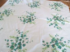 Wilendure Tablecloth Vintage Cotton Fabric Green by AStringorTwo, $14.00