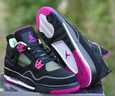 buy online 50f7e ba3e3 Details about Nike Air Jordan 4 Retro GG 30th Fuchsia Size 9Y Black Flash Lime  705344-027