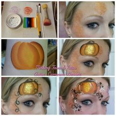 When you think about face painting designs, you probably think about simple kids face painting designs. Many people do not realize that face painting designs go Face Painting Tutorials, Face Painting Designs, Paint Designs, Pumpkin Face Paint, Pumpkin Faces, Facial Painting, Tinta Facial, Mime Face, Cheek Art