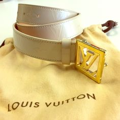 LOUIS VUITTON BELT AUTHENTIC M9857 an exquisite and versatile adornment for any waist. The 30mm belt adds a refined touch to any ensemble. It's supple, patent moon organ empire inter leather is highlighted by shiny golden metallic pieces. Used but like-new condition. Wears on emblem not noticeable. Retails for $635 before taxes. Louis Vuitton Accessories Belts