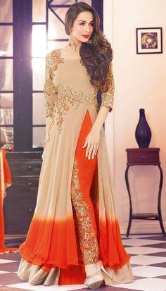Salwar Kameez, Malaika Arora Khan Beige and Orange Semi-Stitched Fancy Suit With Orange Dupatta Party Wear Indian Dresses, Indian Fashion Dresses, Pakistani Dresses, Indian Outfits, Party Dresses, Frock Fashion, Women's Fashion, Wedding Dresses, Bollywood Suits