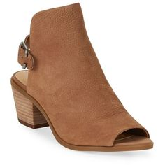 Lucky Brand Bray Leather Peep Toe Ankle Boots ($119) ❤ liked on Polyvore featuring shoes, boots, ankle booties, sesame, short leather boots, peep-toe boots, peep-toe booties, ankle boots and leather bootie