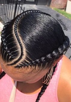 Curved Feed-Ins_Feed-In Styles # feed in Braids cornrows 5 Ways to Wear the Two Braid Cornrow Style Everyone's Rocking Black Girl Braids, Braids For Black Hair, Girls Braids, Box Braids Hairstyles, 2 Cornrow Braids, 2 Feed In Braids, 2 Braids With Weave, Curly Hair Styles, Natural Hair Styles