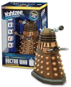 Doctor Who Dalek Yahtzee Collector's Edition —  The Doctor Who Dalek Yahtzee game features a custom bronze Dalek dice cup and custom dice featuring favorite icons from The Doctor and his Companions, including K-9, the Sonic Screwdriver, River's Diary, the 4th Doctor's scarf, the TARDIS and the 11th Doctor's Fez.