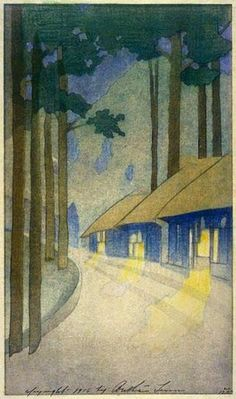 """""""Road to the Forest"""" by Bertha Lum, 1916. Bertha Boynton Lum (1869 – 1954), an American artist known for helping to make Japanese and Chinese woodblock prints known outside of Asia."""
