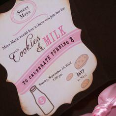 Cookies and Milk Birthday Invitation 1